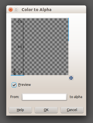 GIMP color to alpha window