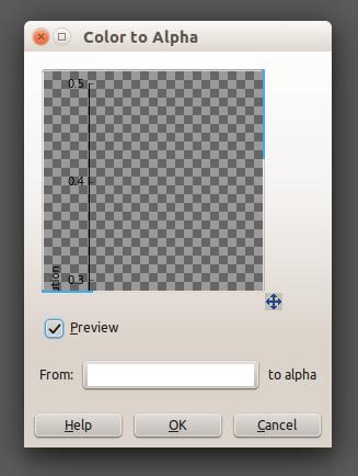 GIMP color to alpha window