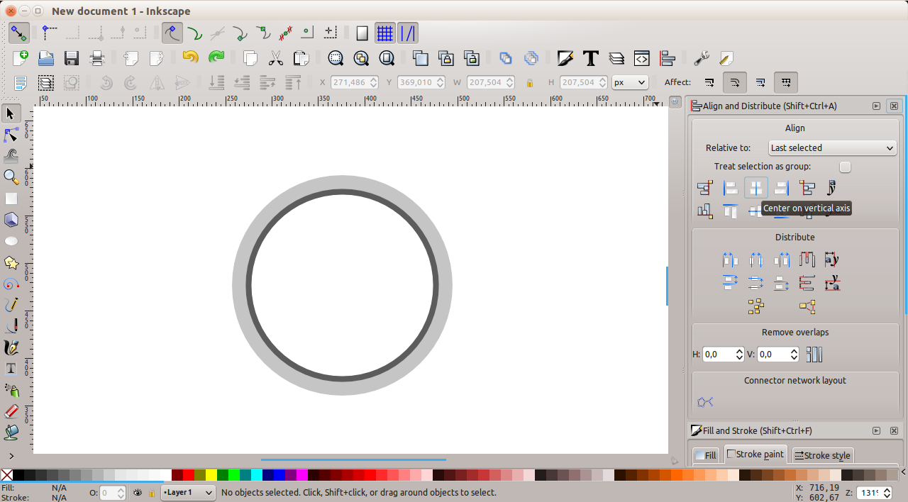 Inkscape - centered objects