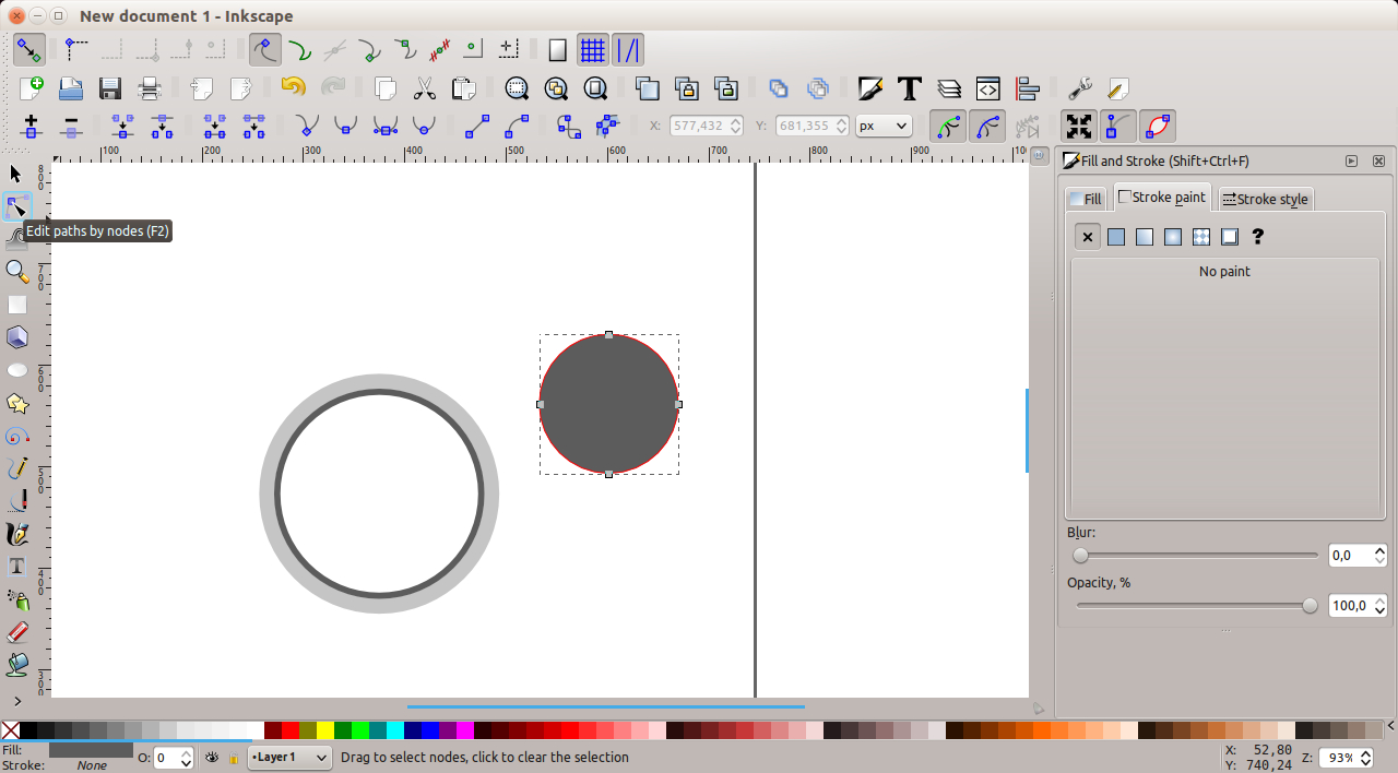 Inkscape - editing nodes