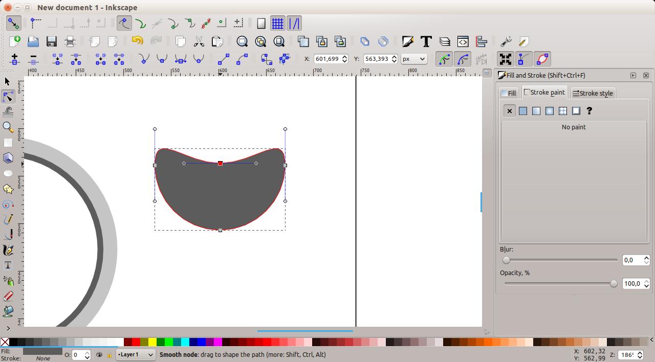 Inkscape - modified node
