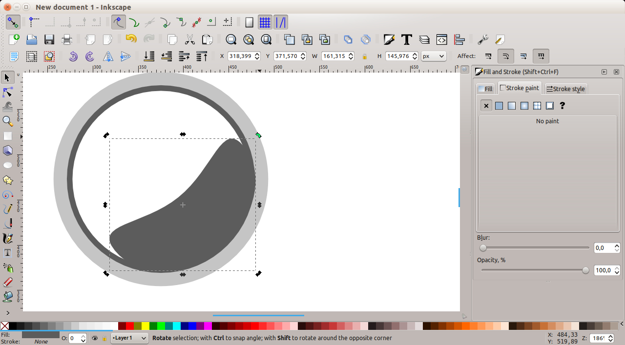 Inkscape - object in position