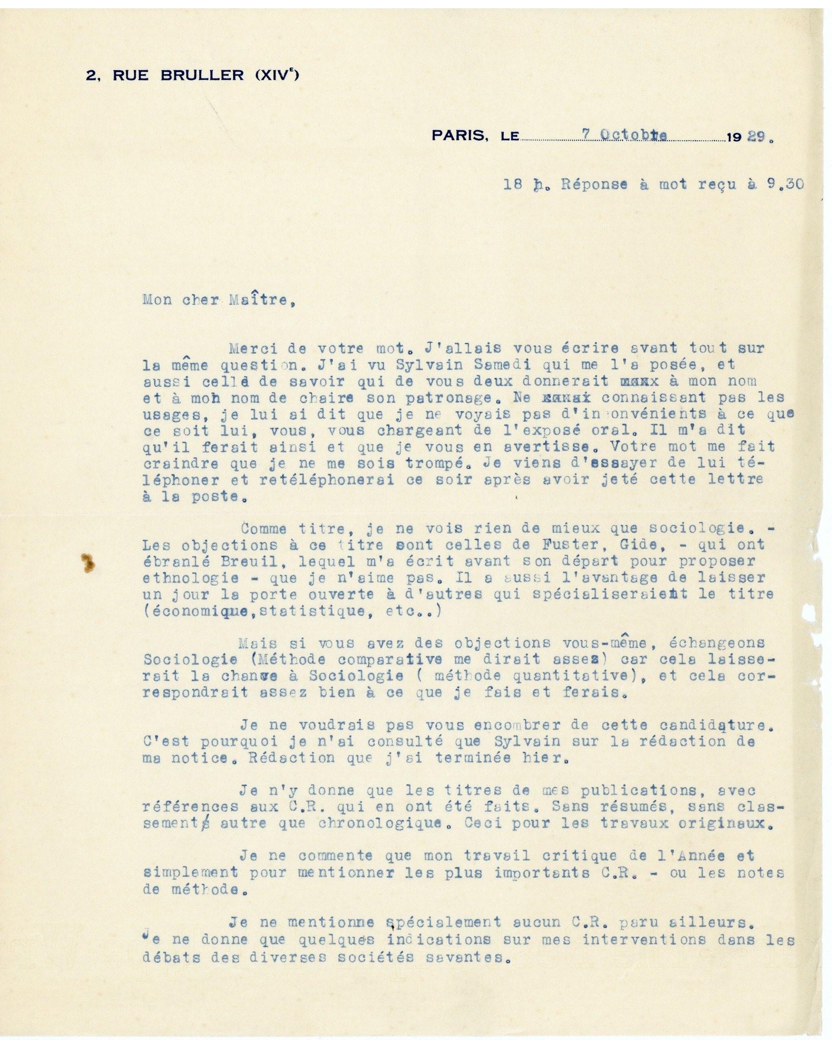 Lettre de Marcel Mauss à Antoine Meillet, 7 octobre 1929