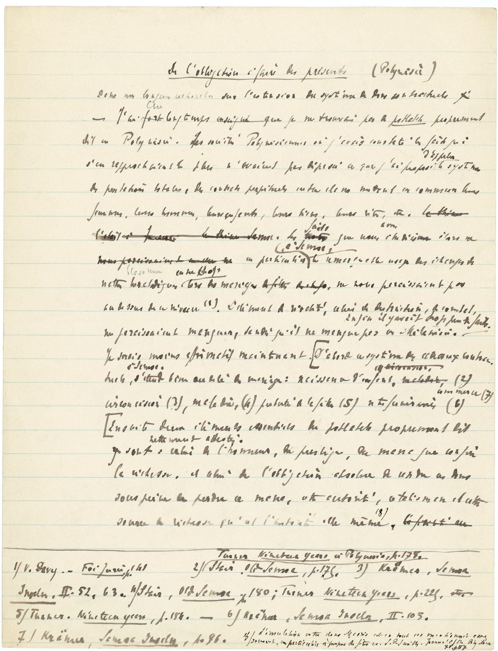 Manuscrit de « L'Essai sur le don », ca. 1924