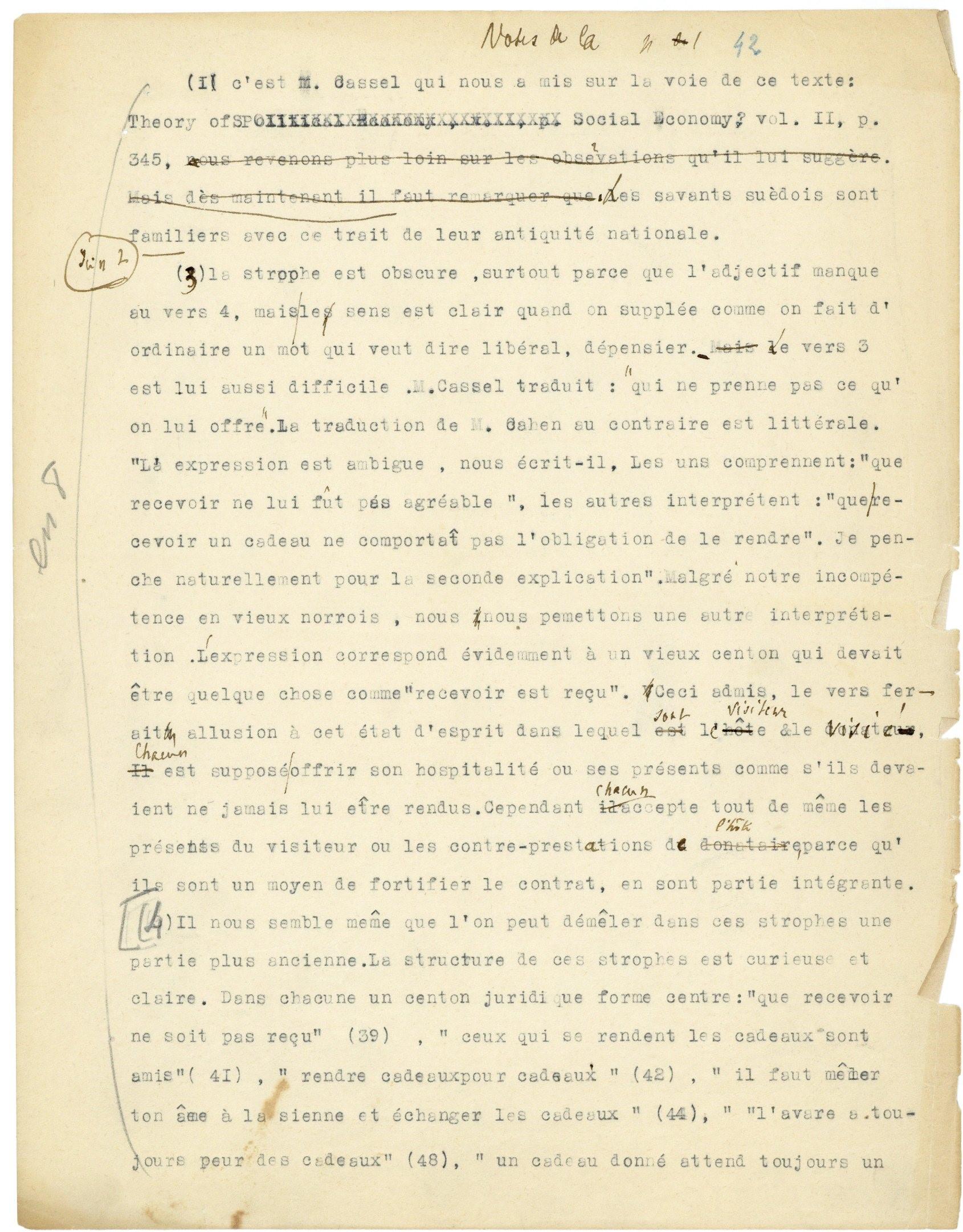 Dactylogramme corrigé de « L'Essai sur le don », ca. 1924
