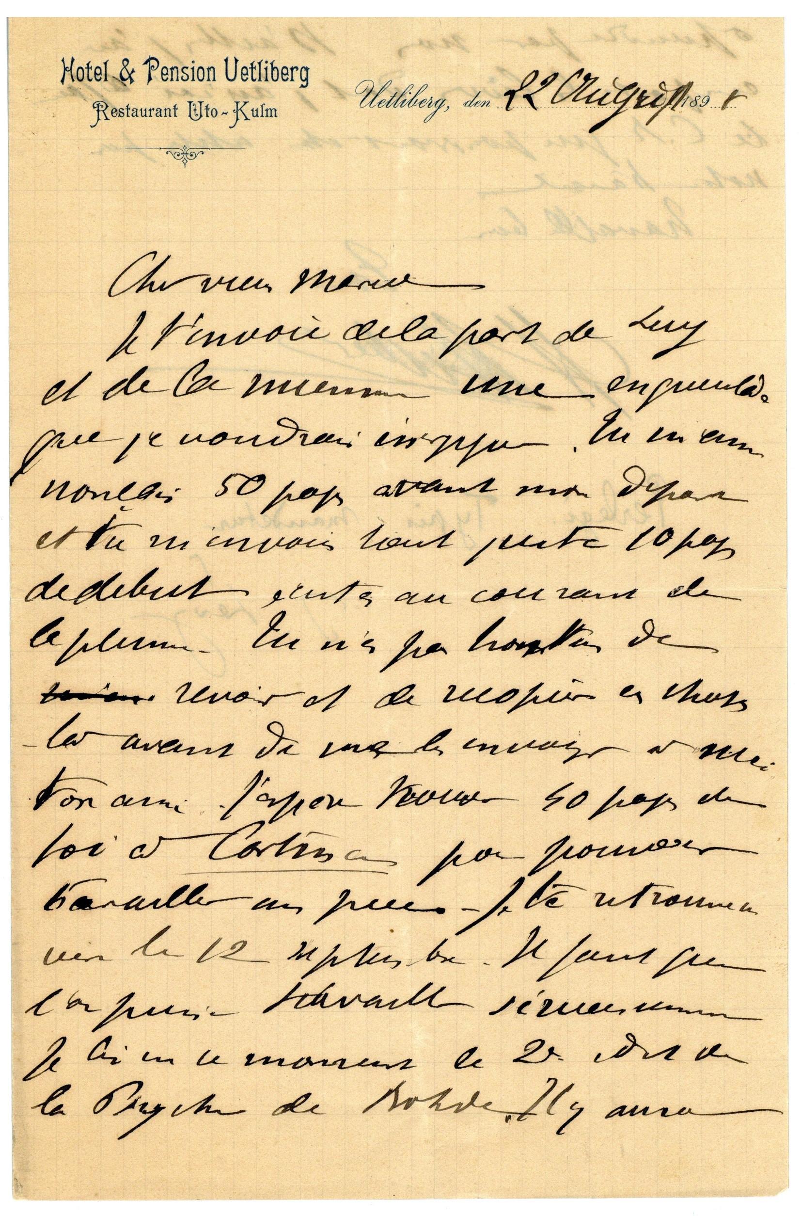 Lettre d'Henri Hubert à Marcel Mauss, 22 août 1922