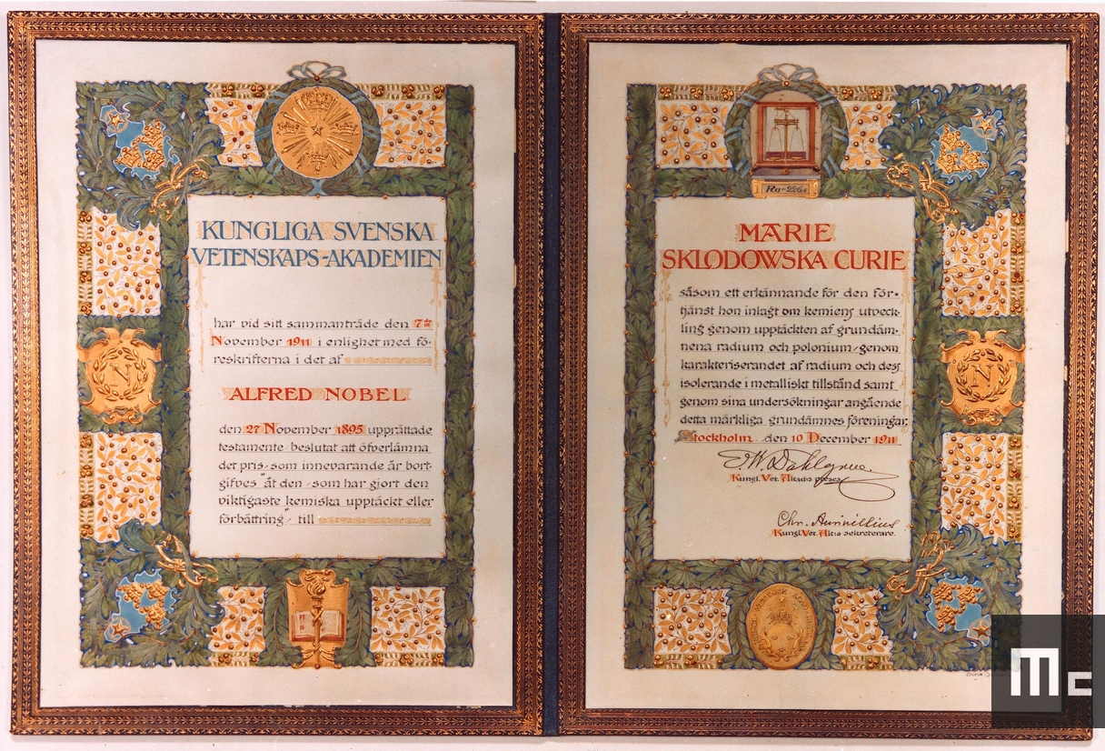 Certificate for the Nobel Prize in Chemistry awarded to Marie Curie in 1911 (Source: Musée Curie; coll. ACJC)