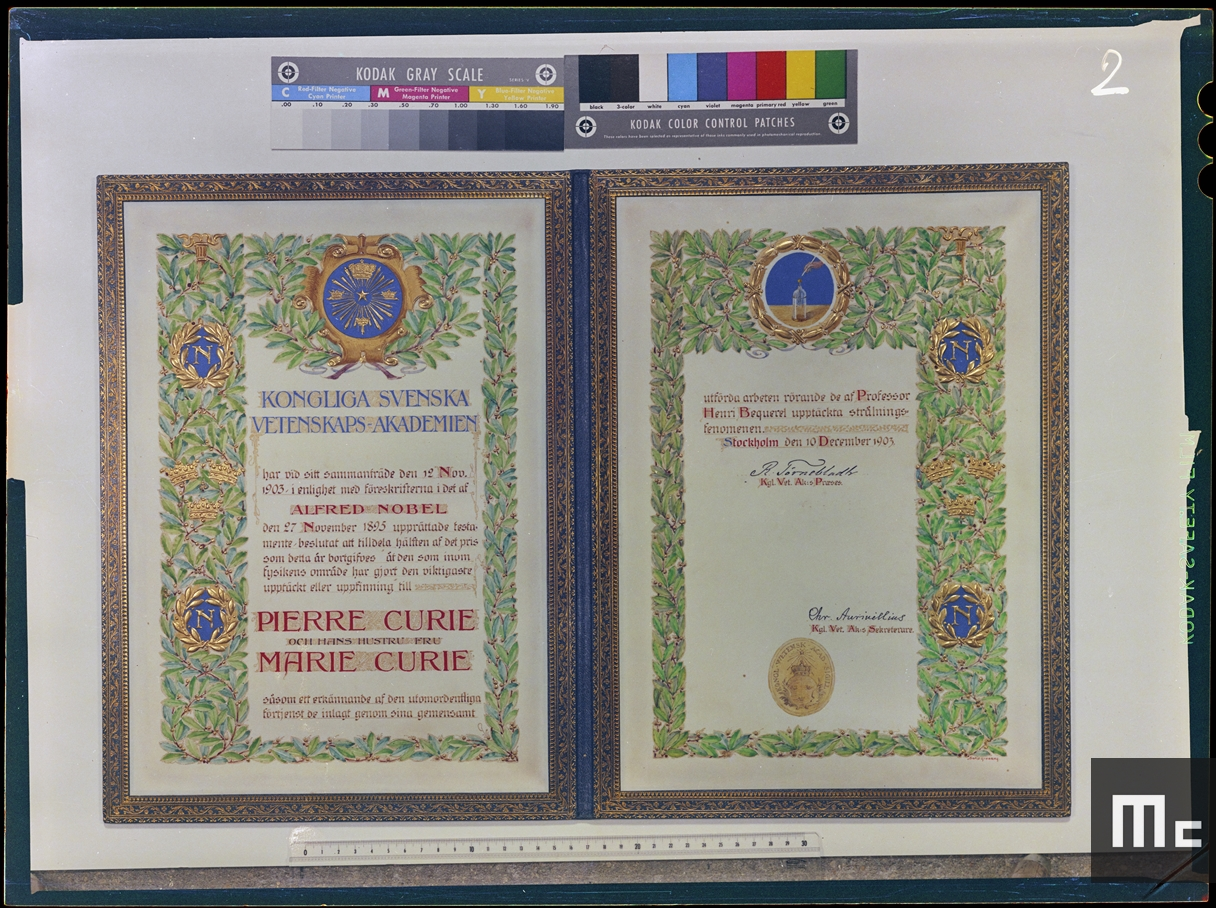 Certificate for the Nobel Prize in Physics awarded to Pierre and Marie Curie (Source: Musée Curie; coll. ACJC)
