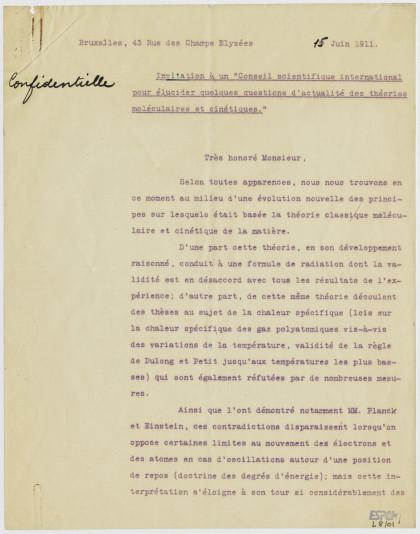 convocation au premier Conseil de physique Solvay