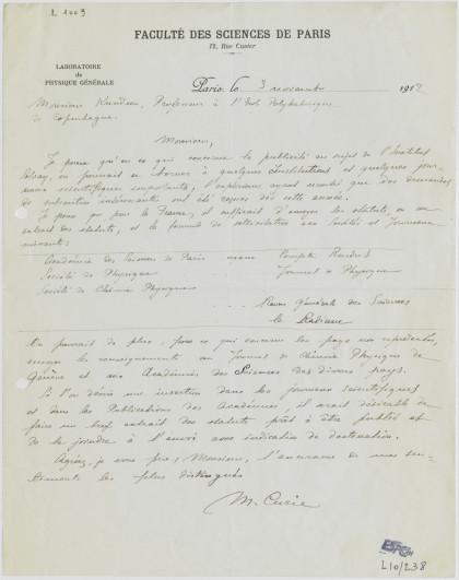 Lettre de Marie Curie, 3 novembre 1912
