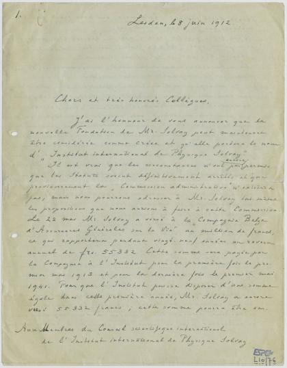 Lettre de Lorentz, 8 juin 1912