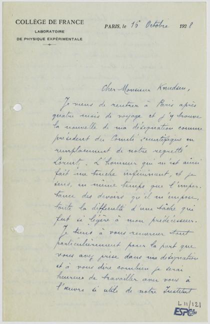 Lettre de Paul Langevin (L11/121)