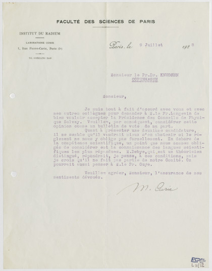 Lettre de Marie Curie (L11/12)