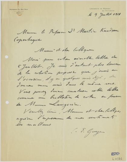 Lettre de Charles-Eugène Guye