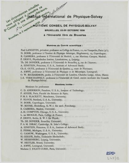 Document imprimé annonçant le programme du huitième Conseil de physique