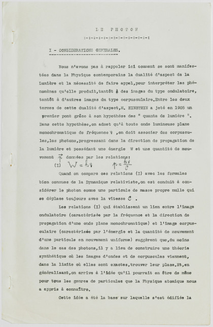 Louis de Broglie, rapport sur le Photon