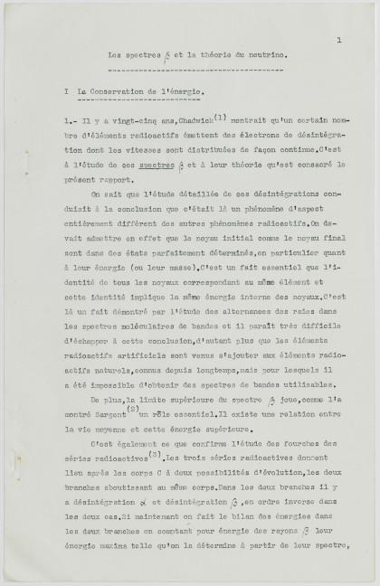 Jacques Solomon, les spectres et la théorie du neutrino