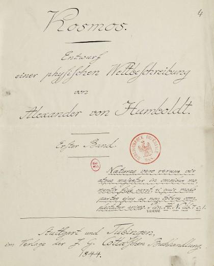 humboldt- Page titre du premier tome du manuscrit Cosmos