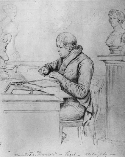 Wilhelm von Humboldt à son bureau, au château de Tegel