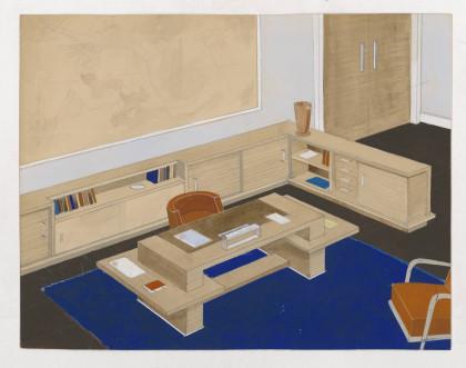 Bureau d'un dirigeant, mobilier en bois ciré. René Gabriel