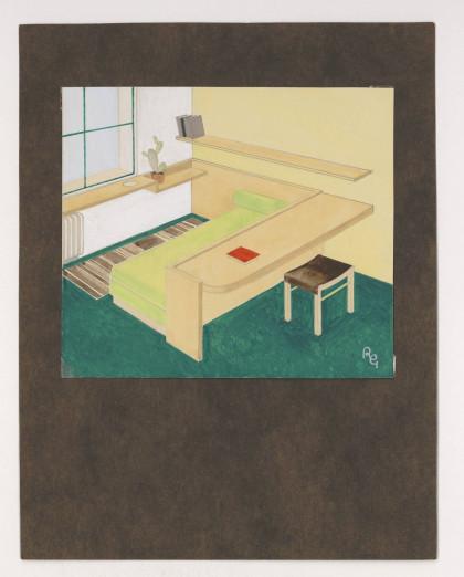 Chambre avec mobilier combiné, le tour de lit devenant table de travail. © René Gabriel.