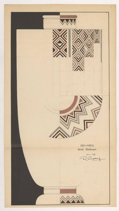 Projet de céramique pour la Manufacture de Sèvres. Dessin à la mine de plomb et à la gouache, 1927 (© René Gabriel. Droits réservés)
