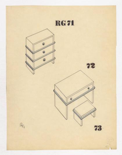 Éléments RG : meubles avec liseré bleu. René Gabriel