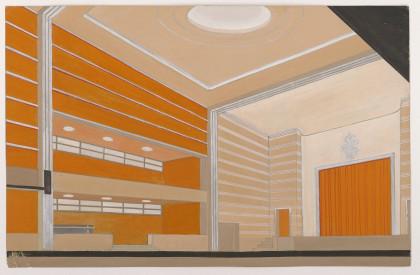 Salle de théâtre avec scène surélevée. René Gabriel