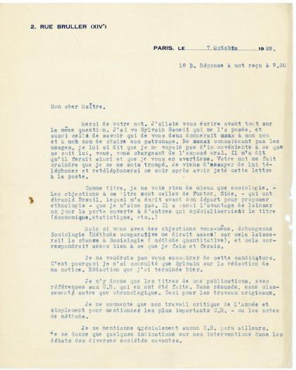Lettre de Marcel Mauss à Antoine Meillet, Collège de France