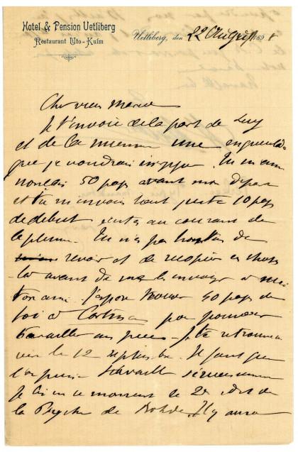 Lettre d'Henri Hubert à Marcel Mauss, Collège de France