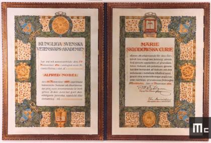 Diplôme du prix Nobel de chimie décerné à Marie Curie en 1911