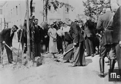 Marie Curie plantant un arbre à l'Institut du Radium de Varsovie, le 29 mai 1932 (Source : Musée Curie ; coll. ACJC)