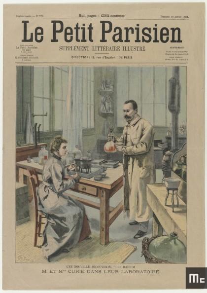 Page de couverture du journal « Le Petit Parisien » du 10 janvier 1904 représentant Pierre et Marie Curie dans leur laboratoire de l'EMPCI.