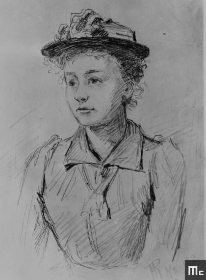 Dessin représentant Marie Sklodowska, fait à Paris, en 1892, lors d'une réunion d'étudiants polonais (Source : Musée Curie ; coll. ACJC)
