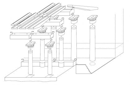 Schéma de la fontaine hypostyle