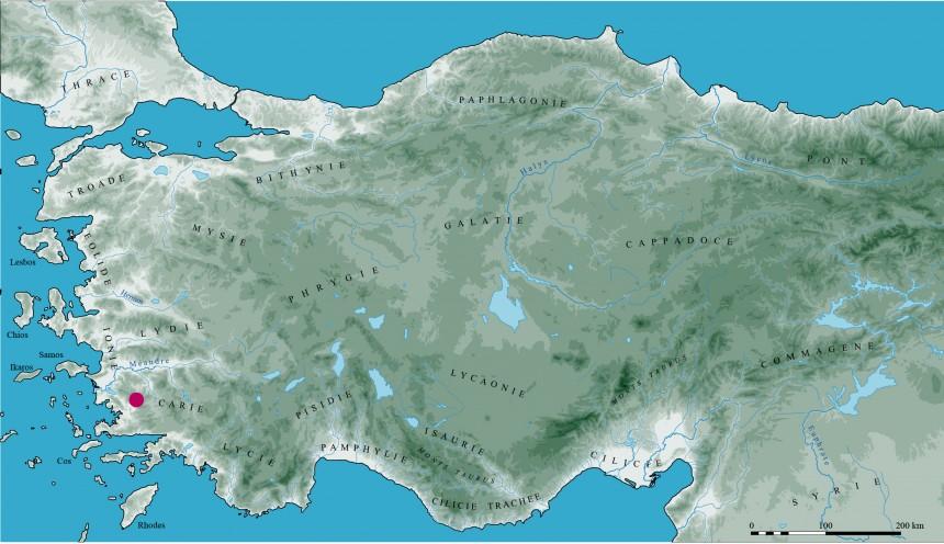 Carte des grandes régions de l'Anatolie et localisation du site de Labraunda