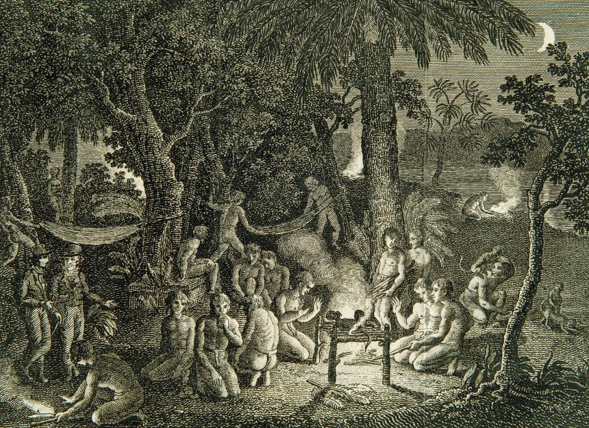Scène nocturne avec Alexander von Humboldt au bord de l'Orinoco
