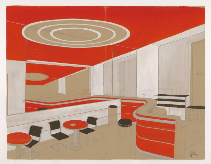 Bar avec comptoir courbe, chaises et tables en tube métallique