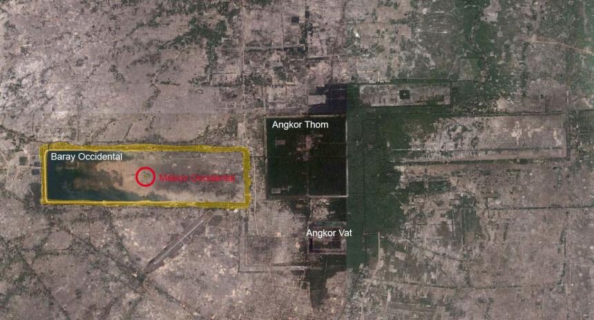 Image satellite du parc d'Angkor (Google Earth et localisation du Mébon occidental)