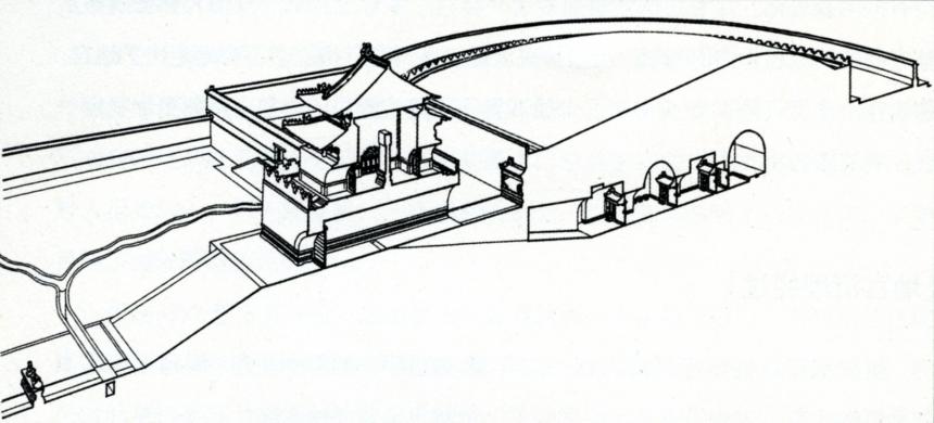 Coupe transversale de l'entrée de la tombe et de la tombe