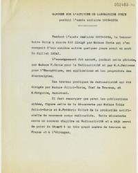 Rapport sur l'activité du Laboratoire Curie pendant l'année scolaire 1933-1934