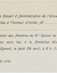 Carton d'invitation à la Réception des membres du quatrième Conseil de Physique Solvay